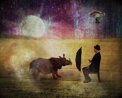 Rhinocerus Digital Art - By The Light Of The Moon by Terry Fleckney