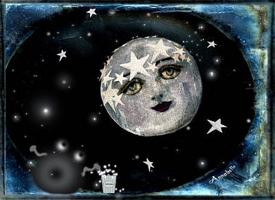 By The Light Of The Silvery Moon, I'll Be Watching You Art Print by Anna Belanger