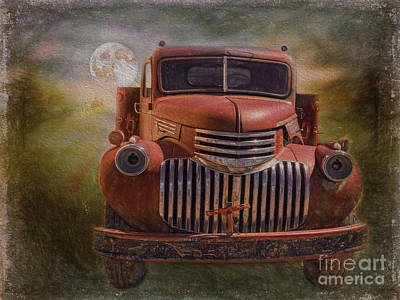 Dump Truck Painting - By The Light Of The Silvery Moon by Janice Rae Pariza