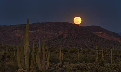 The Superstitions Photograph - By The Light Of The Strawberry Moon  by Saija  Lehtonen