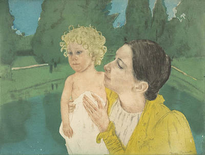 Relief - By The Pond by Mary Cassatt