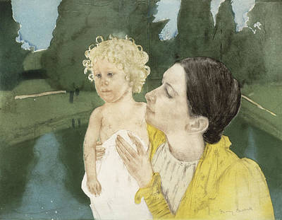 Caring Mother Painting - By The Pond by Mary Stevenson Cassatt