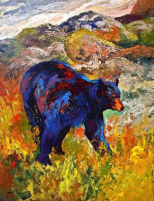 Painting - By The River - Black Bear by Marion Rose