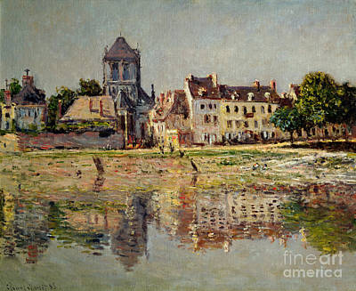 Riverbank Painting - By The River At Vernon by Claude Monet
