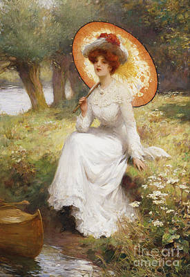 Woman On The River Painting - By The River by Percy William Gibbs