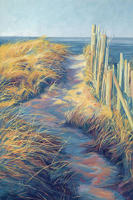 Beach Oil Painting - By The Sea by Lucie Bilodeau