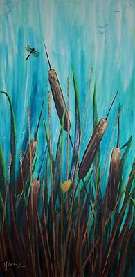 By The Shore Cat -tail Art Print by Yvonne Kinney