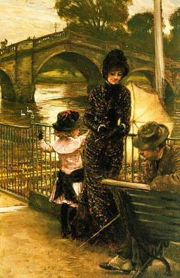 1878 Digital Art - By The Thames At Richmond 1878  by Jacques Joseph Tissot