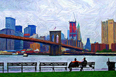 Brooklyn Bridge Digital Art - By The Water Too Sketch by Randy Aveille