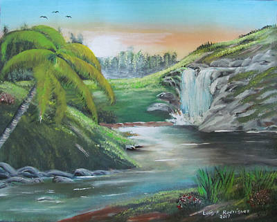 Painting - By The Waterfall by Luis F Rodriguez
