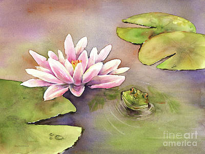 Watercolor. Frogs Painting - By The Waterlily by Amy Kirkpatrick