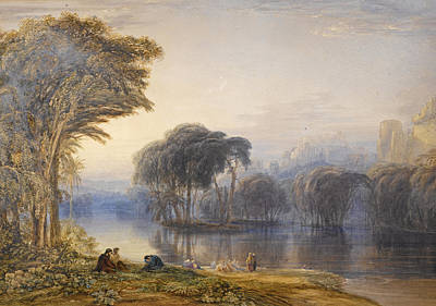 Drawing - By The Waters Of Babylon by Anthony Vandyke Copley Fielding