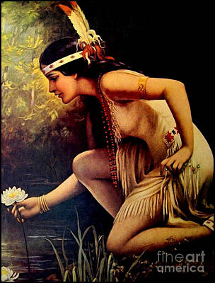 Indian Maiden Painting - By The Waters Of Minnetonka by Adelaide Hiebel