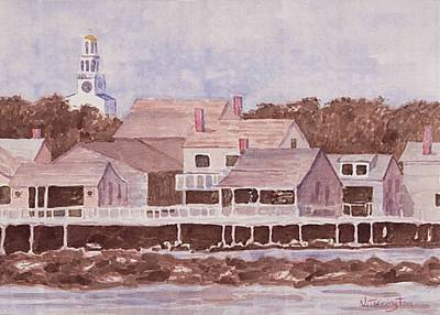 Maine Coast Drawing - By The Wharf by Bill Torrington