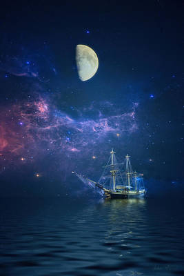 By Way Of The Moon And Stars Art Print by John Rivera