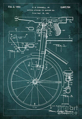 Mechanisms Mixed Media - Bycicle Attached Toy Machine Gun Patent Blueprint, Year 1951 Green Vintage Art by Pablo Franchi