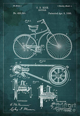 Teen Decor Mixed Media - Bycicle Patent Blueprint Year 1890 Green Vintage Background by Pablo Franchi