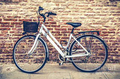 Tele Photograph - Bycicle Urban Canvas Red Brick Wall Prints by Luca Lorenzelli