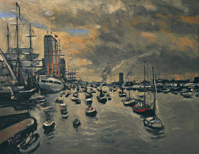 Boat Painting - Bye Bye Sail Amsterdam by Nop Briex