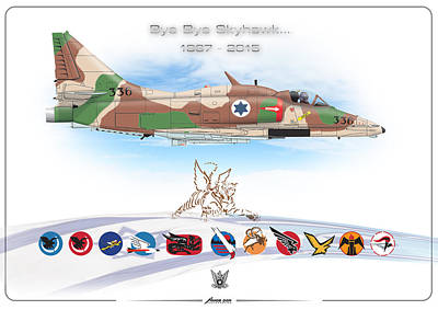 Print featuring the digital art Bye Bye Skyhawk by Amos Dor