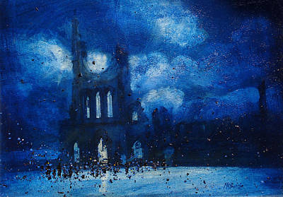 Painted Painting - Byland Abbey Gathering by Neil McBride