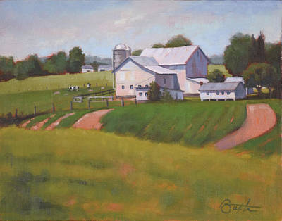 Amish Farms Painting - Byler Farm by Todd Baxter