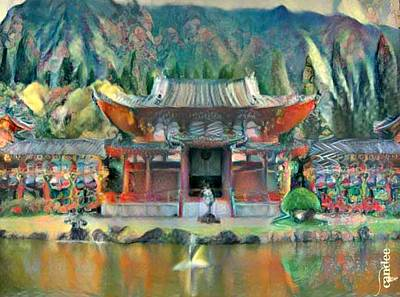Oahu Mixed Media - Byodo-in Temple by Candee Lucas