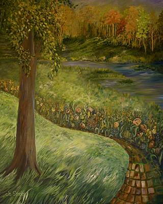 Edge Painting - Byron And Jenny's Backyard by Joanne Smoley