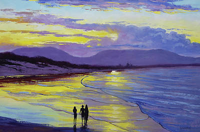 Coastal Scene Wall Art - Painting - Byron Bay Sunset by Graham Gercken