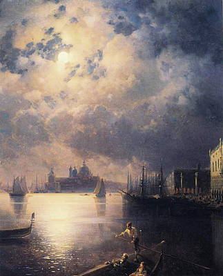 Sailing At Night Painting - Byron In Venice by Ivan Konstantinovich Aivazovsky