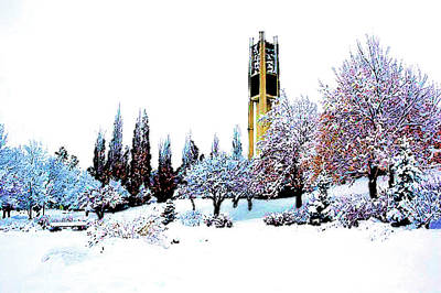 Mixed Media - Byu Bell Tower by DJ Fessenden