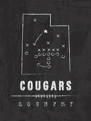 Byu Cougars / Ncaa College Football Art / Salt Lake City Utah Art Print by Damon Gray