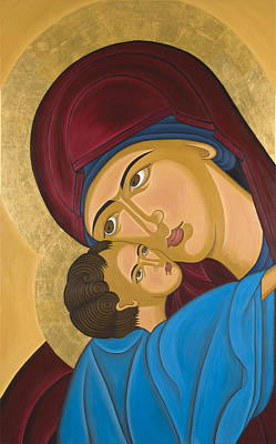 Greek Icon Painting - Byzantine Art Mother Love by Marinella Owens