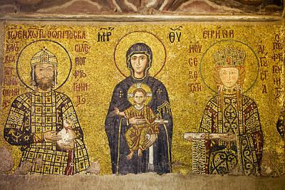 Ornate Photograph - Byzantine Mosaic In Hagia Sophia by Artur Bogacki