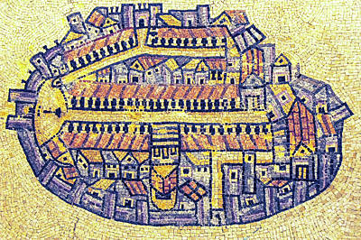 Madaba Photograph - Byzantine Mosaic Map Of The Old City Jerusalem by Tomi Junger