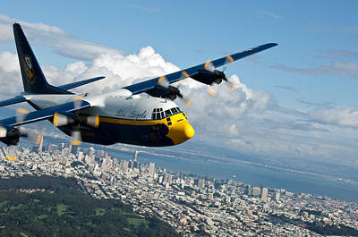 Army Reserves Painting - C-130 Hercules Flys Over San Francisco  by Celestial Images