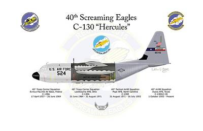 Digital Art - C-130 Screaming Eagles by Arthur Eggers