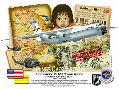 Drawing - C-141 Operation Baby Lift by Kenneth De Tore