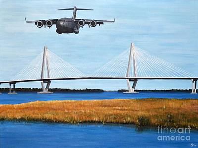 C-17 And Ravenel Bridge Art Print by Holly York