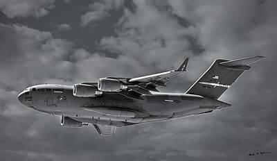 Mark Myhaver Rights Managed Images - C-17 Globemaster III BW Royalty-Free Image by Mark Myhaver