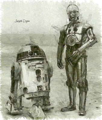 Hoping Painting - C-3po And R2-d2 - Da by Leonardo Digenio