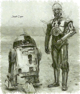 Vader Painting - C-3po And R2-d2 by Leonardo Digenio
