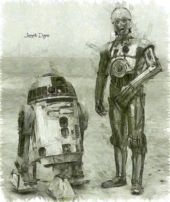 Luke Digital Art - C-3po And R2-d2 by Leonardo Digenio