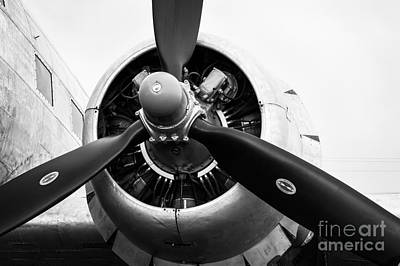 Photograph - C-47 Engine Bw by Lawrence Burry