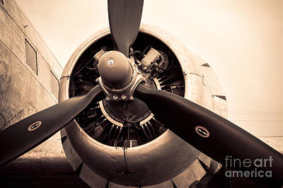 Photograph - C-47 Engine Sepia by Lawrence Burry