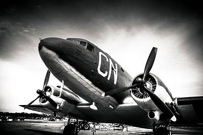 Photograph - C-47d Skytrain Black And White by Debra Forand