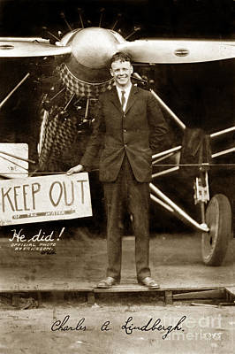 Photograph - Charles A. Lindbergh And Spirit Of St. Louis 1927 by California Views Archives Mr Pat Hathaway Archives