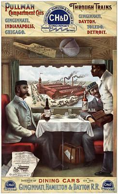 Waiter Digital Art - C H And D Railroad Luxury Dining 1894 by Daniel Hagerman