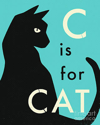 Digital Art - C Is For Cat - 2 by Jazzberry Blue