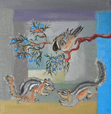 Painting - C Is For Charming Creatures Of The Cedar Breaks Childhood Quilt Detail by Dawn Senior-Trask